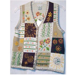 SWEATER VEST Fall M 8 10 NEW Flowers floral Beads